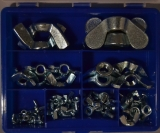 Assortment wing nuts zinc plated, 66-pieces