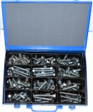 Assortment carriage bolt DIN 603 with nut M10+M12, zinc plated, 94-pieces