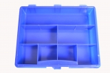 Assortment box, empty with 7 partititions, plastic, blue