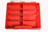 Assortment box, empty with 8 partitions, plastic, red