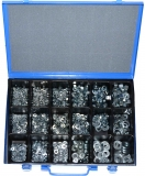 Assortment nuts, washers and spring washers zinc plated, 1036-pieces