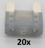 KFZ Mini-Flachstecksicherungen 2A (20 Stück)