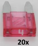 KFZ Mini-Flachstecksicherungen 4A (20 Stück)