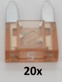 KFZ Mini-Flachstecksicherungen 5A (20 Stück)