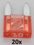KFZ Mini-Flachstecksicherungen 10A (20 Stück)